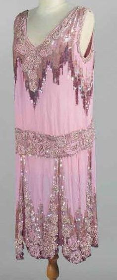 Flapper evening dress, ca. 1925, French