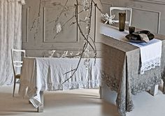 Arte Pura's elegant lace edged linen table cloths