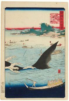 """Hiroshige II utagawa Hizen Goto Kujira-ryô no zu:  """"La chasse à la baleine"""""""