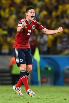JULY 04: James Rodriguez of Colombia celebrates scoring his team's first goal on a penalty kick during the 2014 FIFA World Cup Brazil Quarter Final match between Brazil and Colombia at Castelao on July 4, 2014 in Fortaleza, Brazil.
