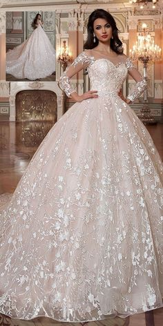 Attractive Tulle & Organza Scoop Neckline Ball Gown Wedding Dress With Lace Appliques & Beadings #weddingdress