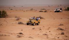 Land Rover with tourists is running through the desert  #dubai #desert #safari