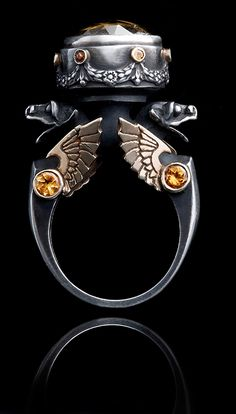 William Llewellyn Griffiths Ring: Citrine Urn, 2009 Sterling silver, 9ct yellow gold, yellow citrine