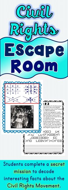 The Civil Rights Movement Escape Room will take students on a secret mission around the classroom! This escape room has students decode interesting facts about the Civil Rights Movement. This is the perfect resource to introduce the Civil Rights Movement, Black History Month Facts, Black History Month Activities, World History Lessons, History Quotes, History Facts, Black History Books, Social Studies Activities, Classroom Activities, Teaching Resources