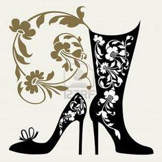 Illustration about Black silhouettes of women shoes collection and ornaments. Illustration of concept, mode, design - 20188348 Silhouette Clip Art, Black Silhouette, Woman Silhouette, Shoes Wallpaper, Nostalgic Art, Decoupage Vintage, Shoe Art, Texture Art, Beautiful Shoes