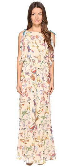 RED VALENTINO Hummingbird Print Silk Creponne Jumpsuit (Soya) Women's Jumpsuit & Rompers One Piece - RED VALENTINO, Hummingbird Print Silk Creponne Jumpsuit, MR3VE0B52QP-404, Apparel One Piece Jumpsuit & Rompers, Jumpsuit & Rompers, One Piece, Apparel, Clothes Clothing, Gift, - Fashion Ideas To Inspire