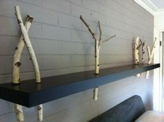 Ikea Lack Shelf Hack - just add birch branches Ikea Lack Shelves, Lack Shelf, Ikea Hacks, Home Projects, Interior Inspiration, Home Furniture, Sweet Home, Wall Decor, House Design