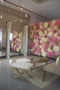 This bridal and party supplies boutique asked us to make their little new store beautiful and inviting. We used pastel colours for the walls and neutral colours for the furniture to give it a romantic touch. At the same time we added contrast with industrial elements , like a brick wallpaper and custom made clothing racks
