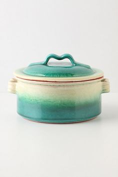 Emerald Ombre Covered Dish: Mmm imagine delicious contents. Orange on the inside. Made of terra cotta. 60 oz capacity. $28