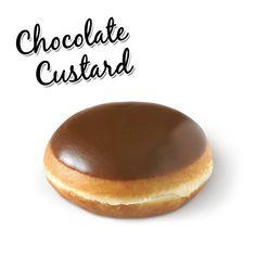 Krispy Kreme- Doughnuts-chocolate-iced-custard-filled. The perfect doughnut. Just love them.. Could eat a dozen