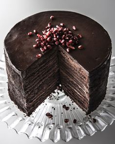 24-Layer Chocolate Cake: A chocolate-lover's fantasy come true: 12 layers of luscious chocolate cake, 11 layers of smooth chocolate filling, and a top layer of French semisweet chocolate ganache.