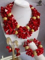 Top Hotsale!!!Natural Coral jewelry set -necklace bracelet and earrings for african wending bridal