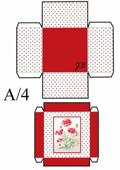 Cajita cuadrada . Printable Box, Printables, Paper Toys, Paper Crafts, Strawberry Box, Paper Box Template, Box Patterns, Spring Party, Christmas Bags