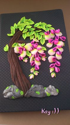 Pink Wisteria art journal by BeatifulByKsy on Etsy. made using polymer clay.
