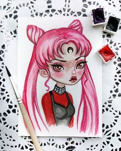 Black Lady  This lovely baby can be found in my Etsy. Link in profile  Sold out. Thank you so much  #blacklady #sailormoon #chibiusa #anime #illustration #artstagram #watercolorart