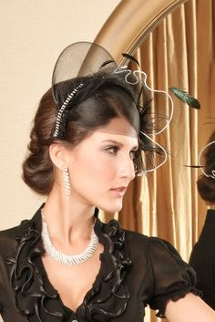 Black Victorian Hair Hoop With Mesh and Feather Details