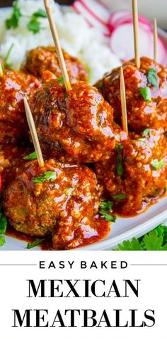 Easy Baked Mexican Meatballs are packed with flavor and served in enchilada sauce! An easy weeknight dinner, or serve as an appetizer on game day! Meat Recipes, Mexican Food Recipes, Dinner Recipes, Cooking Recipes, Mexican Appetizers Easy, Best Mexican Food, Mexican Christmas Food, Mexican Easy, Mexican Cooking