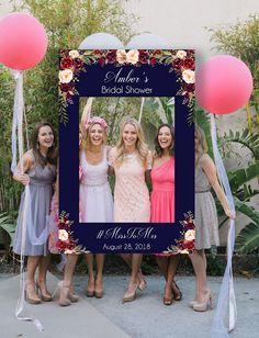 Beautiful Marsala floral photo booth prop #bridalshowerideas