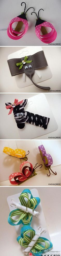 You have the cutest outfit with matching shoes for your little girl. However, you just can't seem to find adorable hair clips to match. You can make hair clips using o. Hair Ribbons, Diy Hair Bows, Ribbon Bows, Ribbon Art, Diy Hairstyles, Pretty Hairstyles, Barrettes, Hairbows, Crafts For Kids