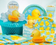 Rubber duck baby shower collection is ideal for gender neutral celebrations Ducky Baby Showers, Baby Shower Duck, Rubber Ducky Baby Shower, Baby Shower Vintage, Gender Neutral Baby Shower, Rubber Ducky Party, Baby Shower Party Supplies, Baby Shower Favors, Baby Shower Parties