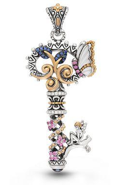 Fairy Key Pendant – Diamond, Blue Sapphire, Pink Sapphire, London Blue – Barbara Bixby