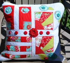 Fans and Flowers - Quilted, embroidered and embellished pillow cover - as featured in Quilter's Newsletter - Best Modern Quilts - Winter 2014 Winter Quilts, Pillow Covers, Fans, Blanket, Writing, Pillows, Modern, Flowers, Photography