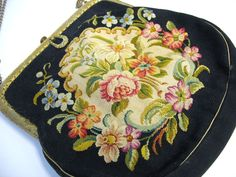 Vintage French tapestry Ladies purse early 1900's floral from quirkyantiques on Ruby Lane
