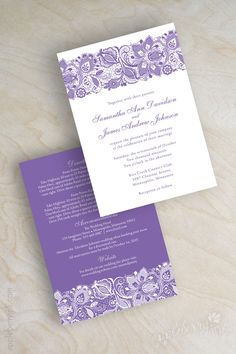 Elegant, Lavender And White Lace Wedding Invitations. Lilac, Orchid, Purple  Wedding Invitation