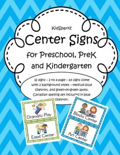 32 Center Signs for Preschool, PreK and Kindergarten Classrooms
