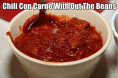 Here your going to find a oh so delicious collection of Chili Con Carne Recipes. If your looking for a delicious Chili Con Carne Recipe you'll find it here. So why not get busy making chili today. Hcg Diet Recipes, Chili Recipes, Mexican Food Recipes, Mexican Cooking, Copycat Recipes, Dinner Recipes, Spicy Chili, Red Chili, No Calorie Foods