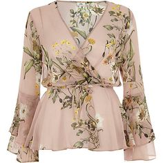 Pink floral wrap frill sleeve blouse £32.00 Frill Blouse, Wrap Blouse, Tie Blouse, Floral Blouse, Blouse Outfit, Saree Blouse, Wrap Dress, Long Blouse, Floral Tops