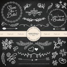 Premium Wedding Clipart Wreaths Arrow Vectors by AmandaIlkov
