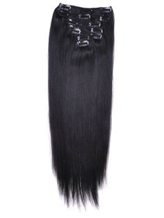 8 - 32 INCHES 7 PIECE SILKY STRAIGHT CLIP IN HUMAN HAIR EXTENSIONS JET BLACK