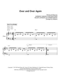 Download HDpiano sheet music to Over and Over Again by Nathan Sykes & Ariana Grande and print it instantly from Sheet Music Direct.