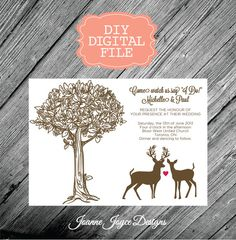 deer doe & buck tree wedding invitation by lizcarverdesign on etsy, Wedding invitations
