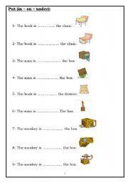 English worksheet: Put (in – on – under):