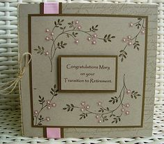 Delicate floral card - You could even do this free hand with thin markers and add tiny punched flowers and seed beads.