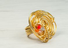 Round Shaped Ring, Multi Colored Crystal Ring, Gold Ring, Gold Plated Ring, Wire Wrapped Ring, Bridal Jewelry