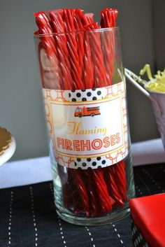 "Twizzlers as ""fire hoses"" for a fire truck birthday party theme"