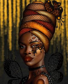 Another beautiful artwork by thick east african girl - Golden digital drawing on a photo of wemi mo Original photographer - oye diran Black Love Art, Black Girl Art, Afrika Tattoos, Africa Nature, African Art Paintings, African Artwork, African Drawings, African American Artwork, Afrique Art