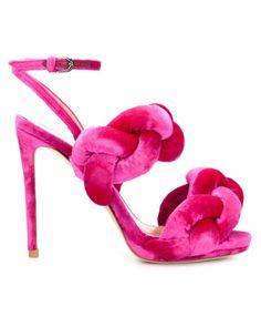 Marco De Vincenzo | Pink Woven Velvet Sandals | Lyst