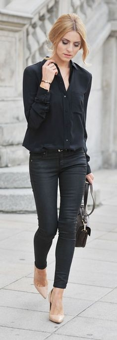 black outfit and nude pumps