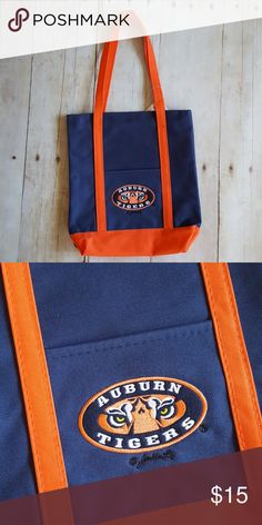 Auburn tote bag Auburn Tiger Tote Bag Licensed Item from the NCAA New item from my gift shop in the Florida Panhandle Bundle 3 items in my closet and save. Check out my closet for listings for LSU, FSU, Auburn, Alabama, Florida Gators, and Tennessee, and Oklahoma FFMGifts.com Bags Totes