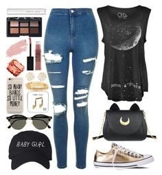 """""""Punk Rocker Chic"""" by sgedgeman on Polyvore featuring Topshop, Usagi, Converse, Ray-Ban, Happy Plugs, Kate Spade, Charlotte Russe, Maybelline, Jane Iredale and NARS Cosmetics"""