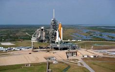 Aerial view showing Space Shuttle Columbia at Launch Pad 39B following rollout from the Vehicle Assembly Building;
