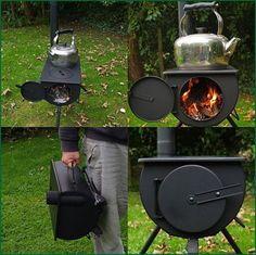 Portable wood-burning stove.