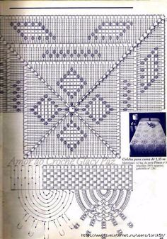 Vintage Crochet Tablecloth or Throw With Medieval Cross Pattern, Milk White Cotton Yarn Filet Crochet, Irish Crochet, Crochet Motif, Crochet Doilies, Crochet Stitches, Crochet Patterns, Crochet Bedspread, Crochet Cushions, Crochet Tablecloth