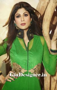 Perrot Green Shilpa Shetty Reshmi Embroidered Anarkli Bollywood Replica Suit2