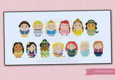 Mini People - Disney Princesses cross stitch by cloudsfactory.deviantart.com on @deviantART