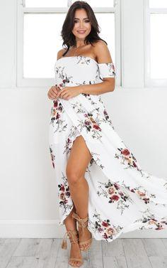 Lovestruck Maxi Dress in white floral SHOWPO Fashion Online